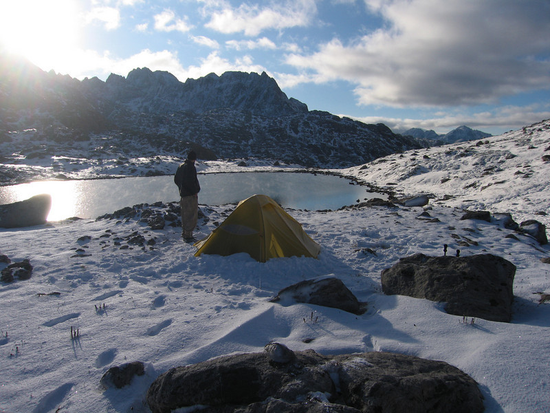 The next morning was bright and sunny and we made better than expected progress through the snow.