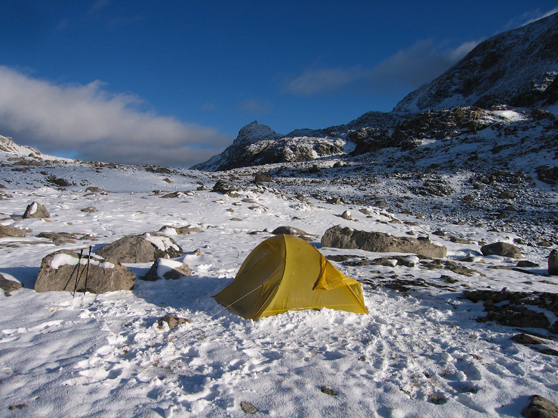 We were forced to set the tent up in an exposed spot above 11,000 feet. Cold night, with temps in the high teens.