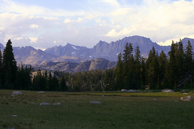 The Wind River Range, Fremont Peak to the right.  From near Ecklund Lake.