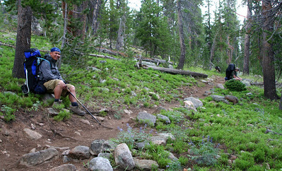 Cris and Steve taking a break on the way to Ecklund Lake.