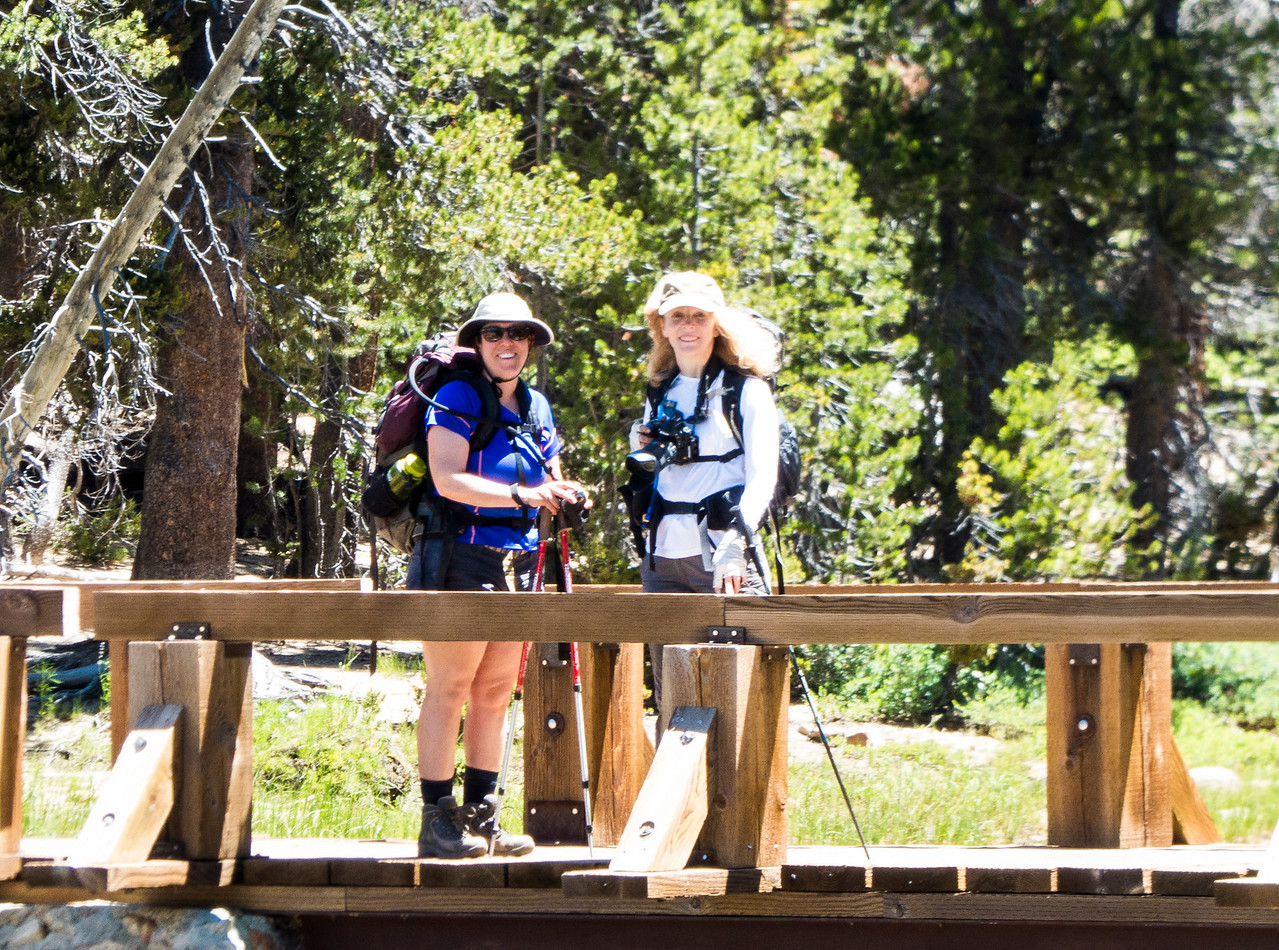 Lisa and Phyllis on the bridge before Tuolumne Falls