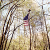 I always fly a flag at the tipi and here is one after the windstorms of a season.