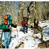 This is my favorite fotog of Trip 28 because it's clear and bright.  Johnny is using his old Kelty pack and Mitten has her framed Kelty.<br /> <br /> TRIP 28 JOURNAL<br /> <br /> DAY ONE<br />   LITTLE MITTEN AND JOHNNY B JOIN ME AT BEECH GAP: Here we are at Beech Gap after driving up the Cherohala Skyway in the ice and snow, a treacherous way to start a backpacking trip. There are 5 of us on this trip: Little Mitten, Johnny B, 2 dogs and myself. To get to the high ground quickly we drove up into the clouds and started our hike at the beginning of the Fodderstack/Benton MacKaye trail at Beech Gap. It was cold and we stopped after .3 miles to don gloves and sweaters, but the walk in was easy on a level old road. Johnny and Mitten and I really enjoyed each other's company so the initial hiking went well.<br /> <br />     We arrived at Cold Spring Gap and took note of the 3 diverging trails here but did not rest due to the cold and the wind whereupon we continued up the trail towards the Bob tee. Steep but not taxing, we walked thru some beautiful country complete with thick rhodo and sparse briars to reach the tee and a short pause. Here the trail opened up as we slowly made our way up to the Bald in the snow and ice. Not long after, we hit the Bob in blue sky and warm sun, laying out on the grassy bald erecting tents, feeding dogs, getting water, cooking food and sharing words at this excellent spot.<br /> <br />     OVERNIGHT ON THE BOB: As soon as we settled down several Ravens flew over from the north and said hello, it made me feel good to see my brothers who greeted me so lovingly on my last trip. Johnny B's stove refused to pressurize and we spent 40 minutes trying to get it to work. As the sun set we felt the cold and Johnny and I did a few laps while Mitten tried out her new zero degree bag, a Marmot Maverick woman's regular polarguard filled beauty. Johnny and I talked and shared very good medicine into the night and Little Mitten joined us later as we talke