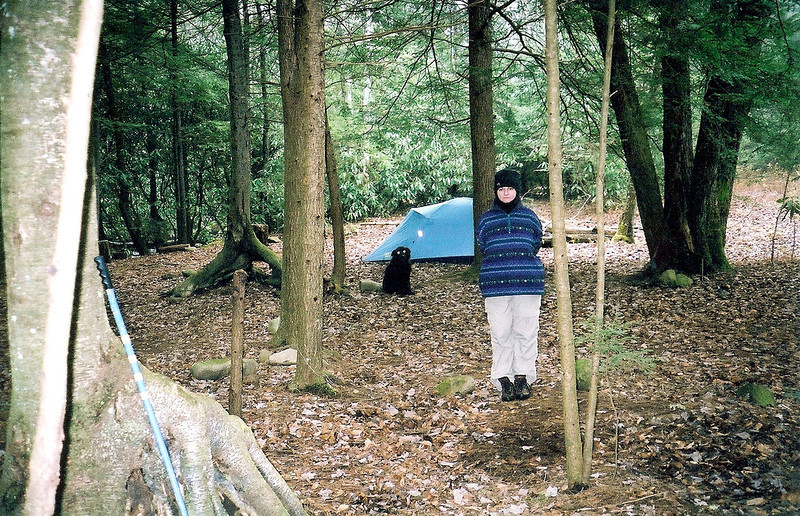 After the major crossing of Upper Bald, the Brookshire Creek trail reaches a great campsite with two firepits and so we decide to stay and prepare for a cold night with snow flurries.