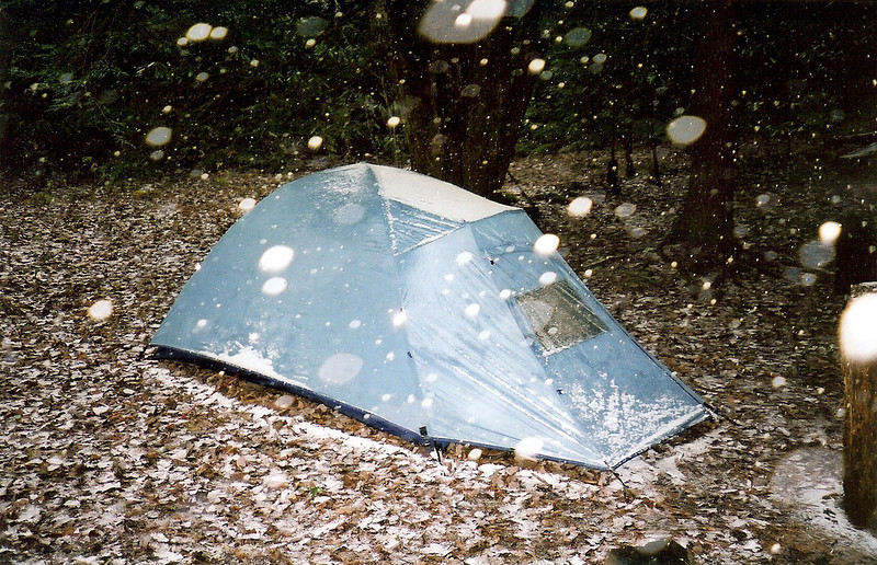 Lucky us, we get a dusting of snow on our second day so Mitten buttons up her tent, the Light Wedge.