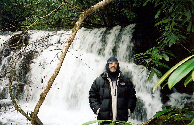 In the summer Old Dog Falls is the place to be to cool off with a swim.  I am wearing my Patagonia fleece top with the North Face Nupste down jacket.