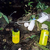 At Tate Gap and I stop on the trail to get water.  At this time I'm using lexan Nalgenes which are good for boiling water.  And the filter is an old PUR thing which I'm still using as of July 2012.<br /> <br /> JOURNAL TRIP 47<br /> <br /> DAY FOUR<br /> <br /> TRAIL  Backtrack Joe Brown Highway/Peels Top/Sandy Gap<br /> CAMP  Moss Gap<br /> <br />   MORNING AT THE CCC CAMP: At 2 am I sit cool but also warm and up but wanting to be down. Dalton creek sings nicely nearby and all is well in this little valley that 75 years ago used to be filled with white canvas Sibley style tents and hundreds of CCC workers in a place they called Rolling Stone Camp.<br /> <br />     Nearby up the hill is Hamp Dolton's gravesite, a rebel killed by bushwackers on July 3, 1864. Parts of the trail getting here from the Gap used to be the original Trail of Tears and it invoked strong emotion in me yesterday as I walked it, something hard to explain and anyway too personal to be annotated and cataloged. Suffice it to say this area has had alot of history and we'll leave it at that. Daylight is a long way off and I'm going back to bed.<br /> <br />     Morning breaks and I am up as the light filters down into Rolling Stone Camp. Where to go today is the question, probably back up to Six Mile Gap and the State Line trail.<br /> <br />     I left camp and now sit at Peels Gap very hot and bothered one hour and forty minutes later. The climb from Unicoi Gap up to here was a fitful sweaty mess, a long heartless slog to arrive at a burned out, bug infested ridge gap and still there's more to climb until I reach the first spring before heading down to Tate Gap. At the gap I will get water and look for the old homestead Bearclaw George told me about and start the hot trek up to Six Mile Gap and points south, but all this comes later. I am slowly cooling down and about ready to keep moving.<br /> <br />     Here I sit at Tate Gap with full water on my way up to 6 Mile and points south. Let's get going before the bugs drive me nuts.<br />     Here I sit at 6 Mile by the BMT trailpost 4 and one half hours after leaving Rolling Stone Camp this morning. So far I've walked 7 miles and have about 5 to go. I hope to find water on this State Line trail around Moss Gap but first it's off to Sandy Gap.<br /> <br />     OVERNIGHT AT MOSS GAP: Man, I am a broken shell of a man after 11 miles, but here I sit at Moss Gap where there is a tiny spring not far back up the trail. It's enough to keep me happy, very happy.<br /> <br /> <br />    <br /> <br /> -Tipi Walter