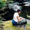 We prepare to leave Pisgah but first after packing the gear Johnny rolls himself a cigarette on the Moss Rock.