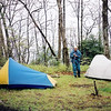 The North Fork trail is a Citico nutbuster but it gets me up to Fodderstack Ridge which eventually puts me in Crowder Camp to meet the Crosscut Mountain Boys.  Ken Jones is squaring away his tent and camp.