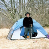I set up camp on Bob Bald and later joined by 3 backpackers from Charlotte and Waynesville, NC.  This guy is using an Alps tent.