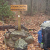 On Day 2 of the trip Little Mitten and I leave the cabin and drive up Tellico River a short distance where Mitten drops me off at the Sycamore Creek trailhead which is shared with the BMT.  I book it up the trail and reach this brand new trailpost put in by Ken Meadows and the Crosscut Mountain Boys.