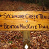 A close up of a brand new trail sign.  Check it out in 2012 and see the difference what weather and a bear can do.