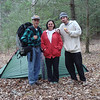 Here is Arrants, Little Mitten and her son Blade posing by my tent at Green Cove Cabin.