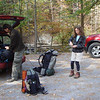 We're all about ready to go with Tellico River in the back.  Amy's all decked out with Asolo boots and thermals under her shorts.