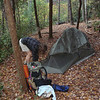 I take the crew to Rock Ledge Camp and we set up our shelters.  Here Amy is using her Big Agnes Seedhouse tent.