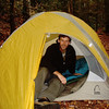 Johnny has his camp set up and he's using a Sierra Designs tent of unknown model name.
