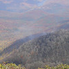 Hangover Mt is in the wilderness and has probably the best view in the Southeast.  This is looking down towards Fontana Lake.  That's the smoke from the supposed Hangover fire.