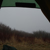 The view out from the tent door seems messy with fog on top of the Bob.