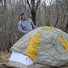 Envirodiver sets up his Sierra Designs wedge tent in the South Col Camps.