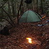 Burning trash at the Mill Branch Crossing Camp.