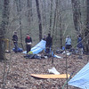 The students set up their tarps.