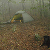 Here's the old green Hilleberg Staika at Landon Camp in the high gap of Naked Ground.