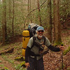 Trip 93 begins at Grassy Gap in the Citico and here I stand reading for the 9 creek crossings with my boots around my neck.