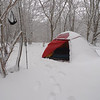 The good old Hilleberg four season tent can take the snow.