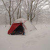 This is what a four season tent is all about: protection from spindrift.  And it was windy.