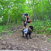 Me and Shunka heading down the Horse Cove trail to Wolf Laurel.