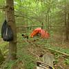 Hung food bags at Wolf Laurel Camp.