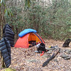 My first night's camp is on the South Fork Citico in White Rock Camp.  Check out the down pants, down parka and down sleeping bag.