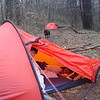 We sit out a long windstorm with rain at around 4,000 feet and Mitten gets to try out her new Akto tent. Nice and light.