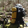The North Fork trail climbs right in the creek and curls away here at this rock with the usual hippie cairn.