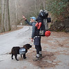 My GF drops me off at the Bald River wilderness trailhead and I'm loaded down with 15 days of food and winter gear. The red thing's my tent and the top high sac is my third overflow food bag. Shunka dog also has some weight.