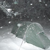 There are not better camping shots than at midnight in a snowstorm.