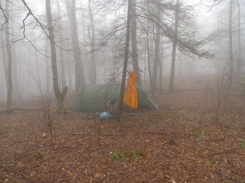 I leave Haoe Peak and go to Saddle Tree Gap and fall off the Hangover Lead South trail to Elysium Fields where I set up in the fog.