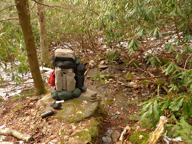 Here's where the North Fork trail comes out of the creek after hiking thru the creek for 100 yards before coming out into an open bowl many hundred feet below Cherry Log Gap on Fodder Ridge.  I call this spot Hippie Rock as there's always a cairn on the rock.