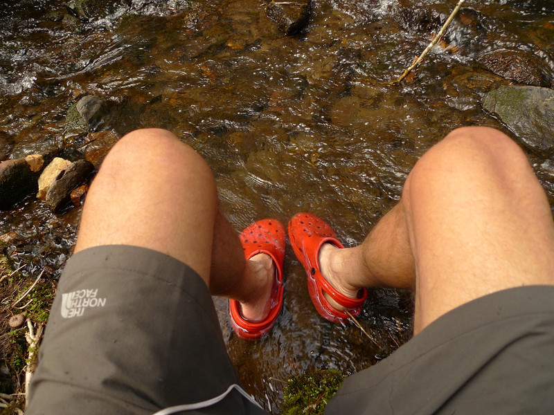 Soaking my feet in the cold water of Falls Branch.