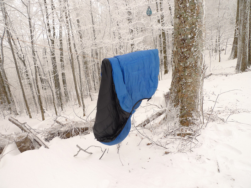 It's real easy to use down on winter trip, just make sure you air it out in the morning.