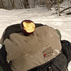 A better pic of the Mystery Ranch label and my morning on-trail apple.