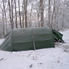 Cold Gap is always cold and windy and so I bolt the tent down with all 14 pegs and watch the tent get frosted.