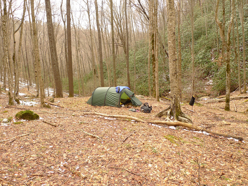 I reach a never-used campsite I call Snake Mt Camp as it reminds me of Snake Mt in NC(near the TN/VA state line).  I'm below the tent and the high ridge behind is Cherry Log Gap and the Fodderstack.  Little did I know that a fierce windstorm would hit this spot in a couple hours.