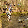Gordon's group slowly crosses the mighty Slickrock Creek.