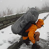 Another long backpacking trip of 18 days begins in a March sleetstorm and I'm carrying a full load (and a heavy load) without resupply.  Little Mitten and I drive up the Skyway to Beech Gap but the road is too bad for her to go any further than East Rattlesnake turnoff where she dumps me out in miserable weather and I watch her leave.  I begin the trip with a one mile roadwalk uphill to Beech Gap.