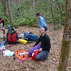 Every year in March a high school from Michigan pulls a ten day backpacking trip into the Citico/Slickrock and are from the Cranbrook School.  I call them the Cranberries.  They divide into eight groups of nine students and three leaders and here's leader Tom packing up his sleeping bag.