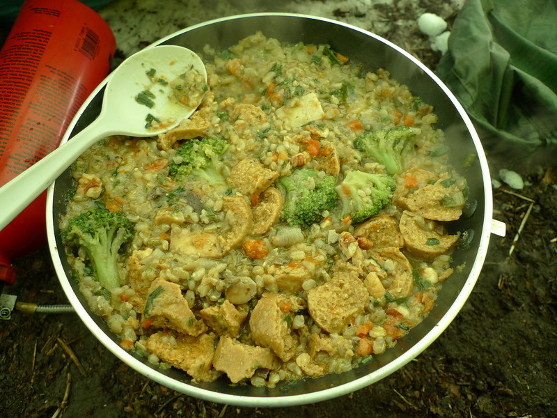 Dinner is broccoli with soy sausage and a grain soup mix.