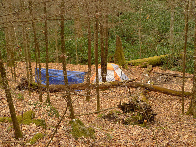 As I make my way down the trail I pass by this quiet camp on the banks of the Little Santee Creek.