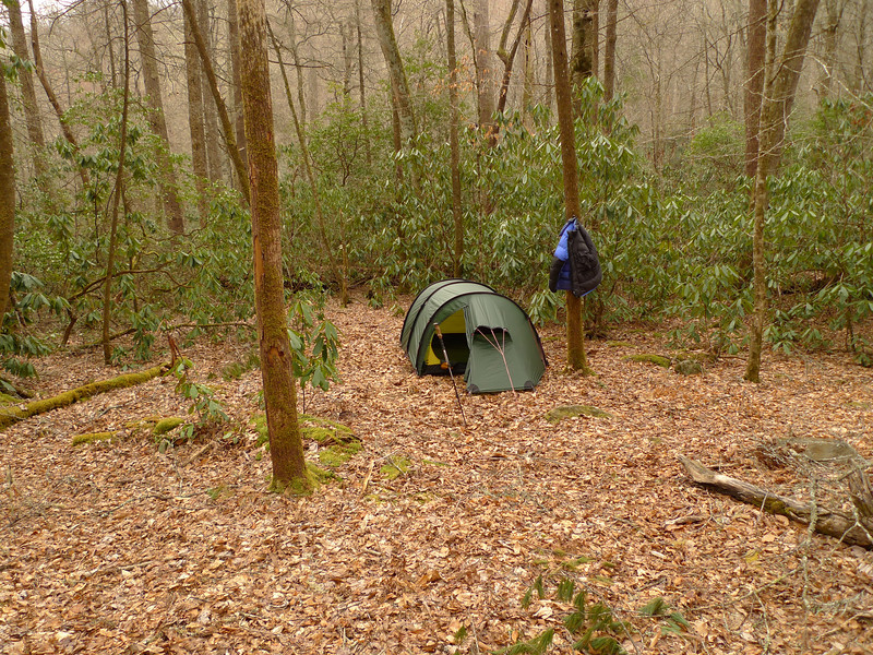 After they leave I set up camp in the Low Dog Camps on the Little Santeetlah Creek.