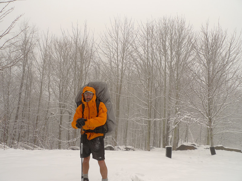 I get to Beech Gap and pause for a quick self portrait before hooking onto the Fodderstack B Mac trail at 4,600 feet.  The Arcteryx rain jacket once again saves my cold butt.